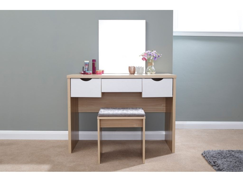 White Bedroom Set With Dressing Table: White/Oak Elizabeth 3 Drawer Dressing Table With Matching