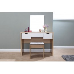 White/Oak Elizabeth Dressing Table with Matching Stool Set