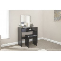 Modern Elegant Ottawa Black Dressing Table and Stool Set