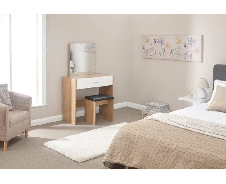 Contemporary Ottawa White Oak Dressing Table and Stool Set
