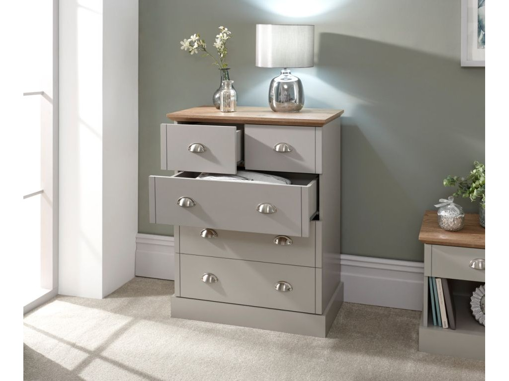 Contemporary Bedroom Oak Top Grey Kendal 2 + 3 Chest Of