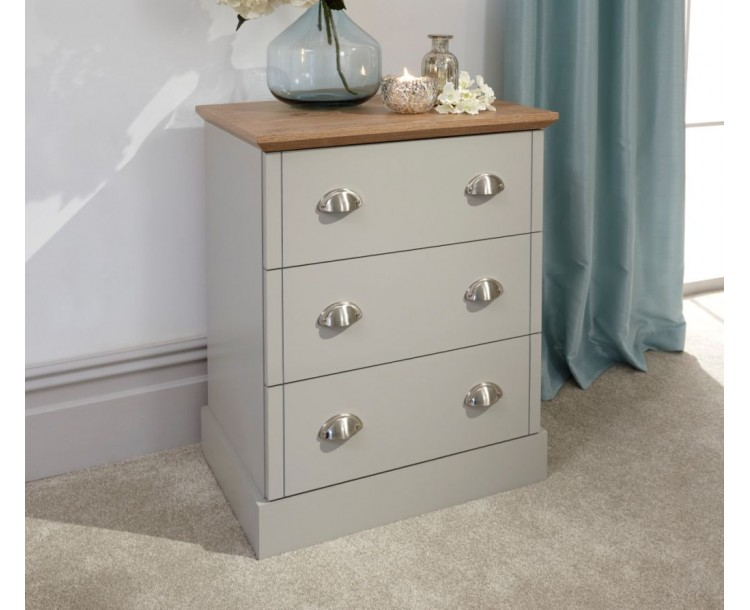 Contemporary Grey Kendal 3 Drawer Bedroom Chest