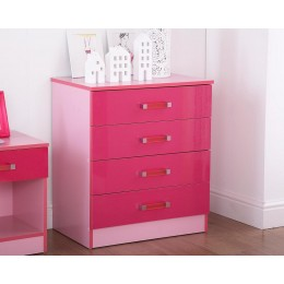 Madrid Kid's Chest of 4 Drawers High Gloss 2-Tone Pink
