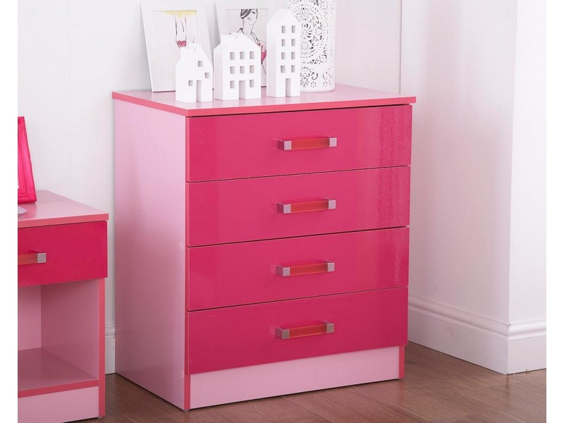 Madrid Kid\'s Chest of 4 Drawers High Gloss 2-Tone Pink
