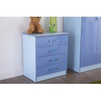 Madrid Childrens High Gloss Two Tone Blue Finish Chest of 4 Drawers