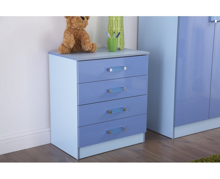 Madrid Kid's Chest of 4 Drawers High Gloss 2-Tone Blue