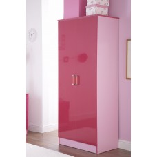 Madrid Childrens High Gloss Two Tone Pink Double Wardrobe