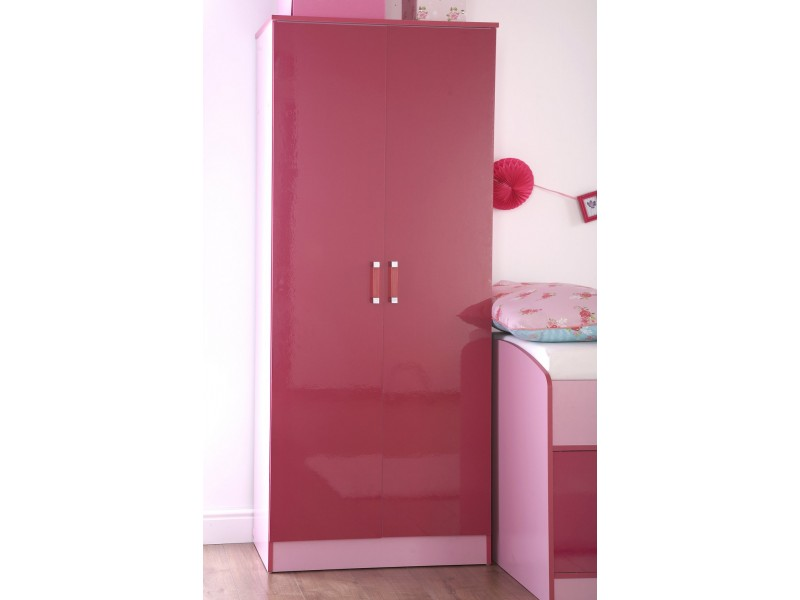 Madrid Kid\'s 2 Door Wardrobe High Gloss 2-Tone Girly Pink