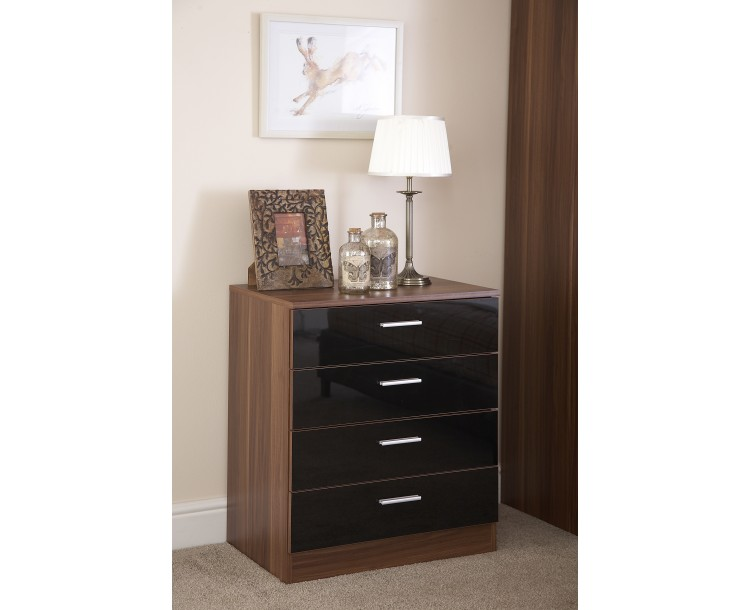 Madrid High Gloss Black & Walnut Finish Chest of 4 Drawers