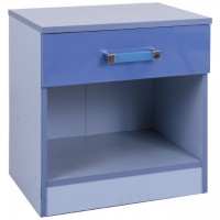 Madrid Childrens High Gloss Two Tone Blue Bedside Cabinet