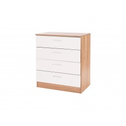 Madrid High Gloss White & Oak Wood Finish Chest of 4 Drawers