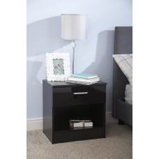 Madrid High Gloss Black & Black Frame Bedside Cabinet