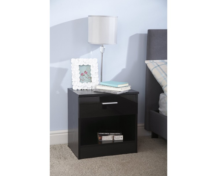 Madrid High Gloss Black & Black Frame Bedside Cabinet