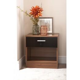 Madrid High Gloss Black & Walnut Frame Bedside Cabinet