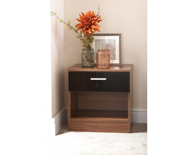 Madrid High Gloss Black & Walnut Frame Bedside Cabinet