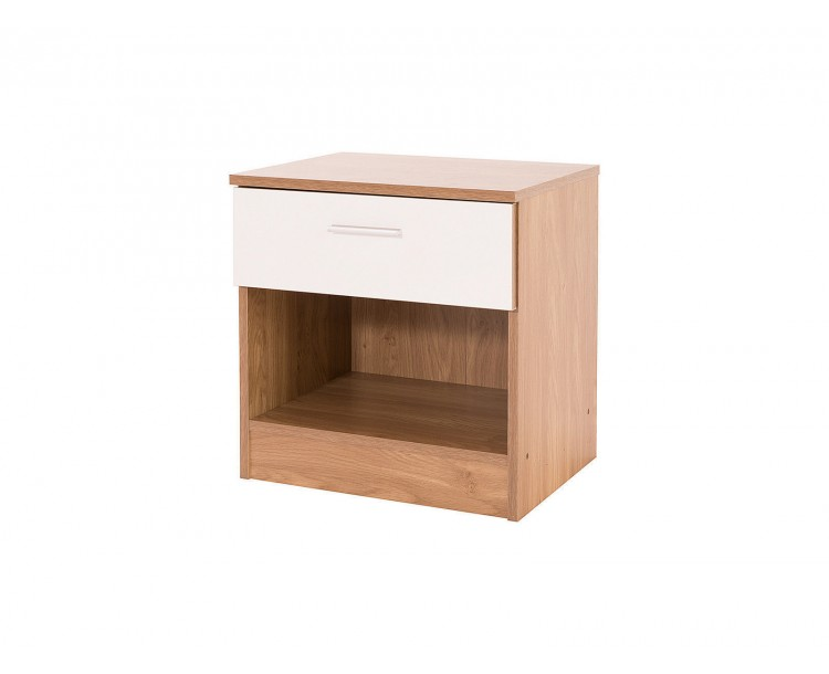 Madrid Modern Bedside Cabinet High Gloss White & Oak Frame