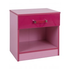 Madrid Childrens High Gloss Two Tone Pink Bedside Cabinet