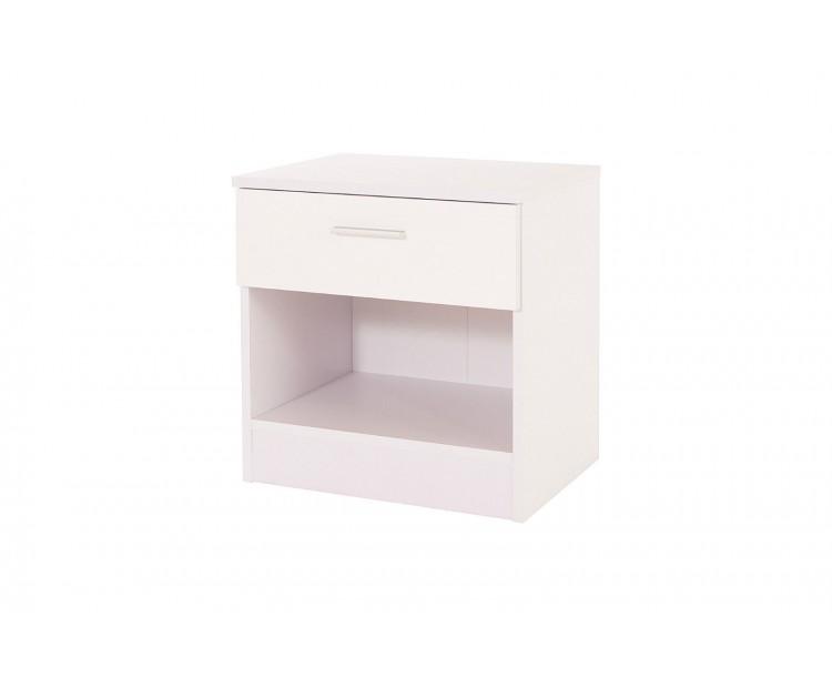 Madrid High Gloss White & White Frame Bedside Cabinet