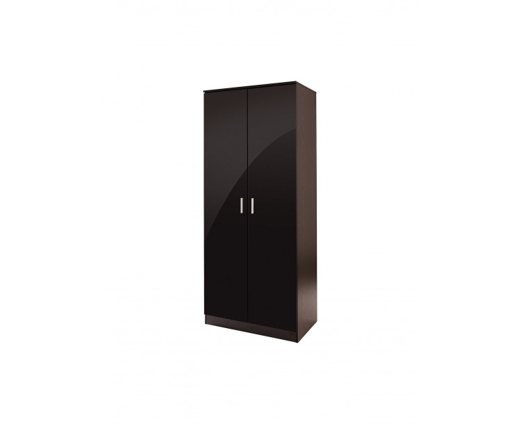 Madrid 2 Door Wardrobe High Gloss Black Door & Black Frame