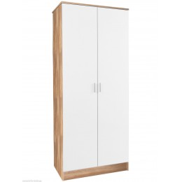 Madrid High Gloss White & Oak Frame Double Door Wardrobe