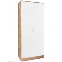 Madrid High Gloss White & Oak Frame Double Door Wardrobe