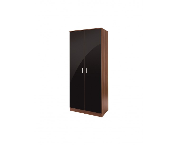 Madrid 2 Door Wardrobe High Gloss Black & Walnut
