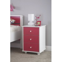 Miami Girl's Pink Wooden Bedside Cabinet with White Frame