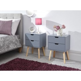 Pair of Scandi Nyborg 2 Drawer Bedside Units in Dark Grey