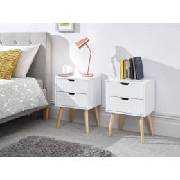 Modern Pair of Scandi Nyborg 2 Drawer White Bedside Units