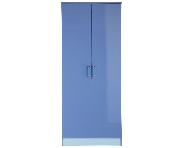 Madrid Childrens High Gloss Two Tone Blue Double Wardrobe