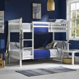 Contemporary White Pine Bedroom Leo Bunk Bed