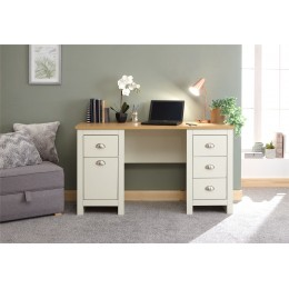 Lancaster Cream & Oak Top Study Desk with Drawers
