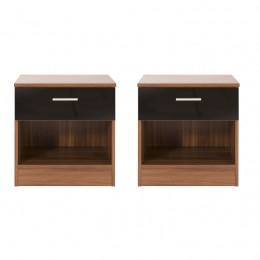 Pair of Ottawa Walnut Bedside Table Cabinet
