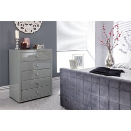 Amalfi 5 Drawer Glass Tallboy Chest of Drawers Grey