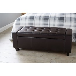 Verona Ottoman Bench Foot Stool Faux Leather Seat Brown