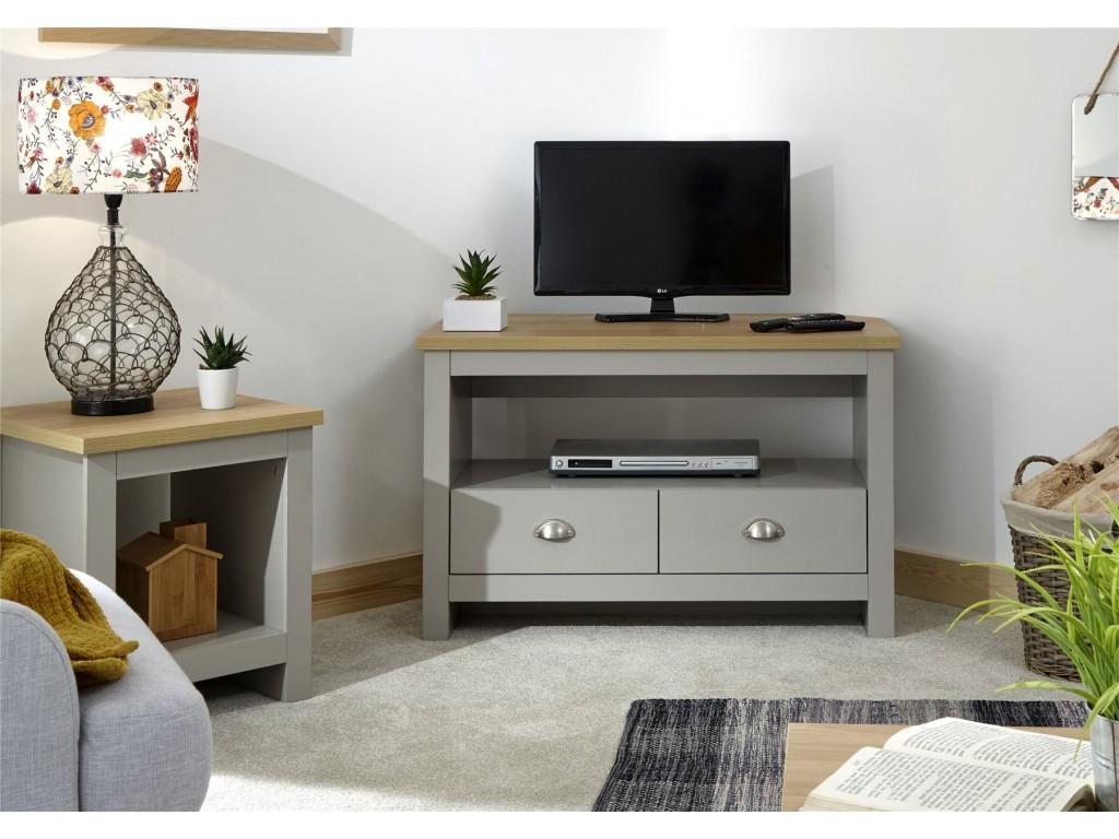 Lancaster Grey Oak Top 2 Drawer Shelf Living Room Corner Tv Unit