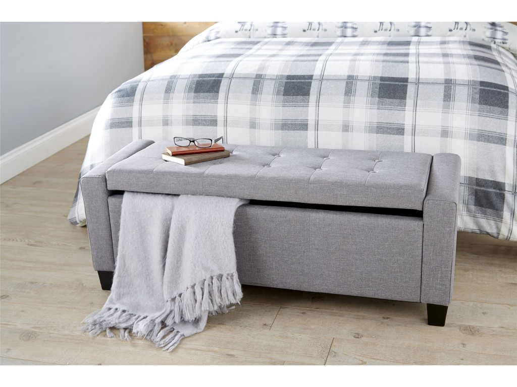 Ottomans Lucia Storage Chest Grey Fabric: Grey Verona Hopsack Fabric Buttoned Lift Up Ottoman
