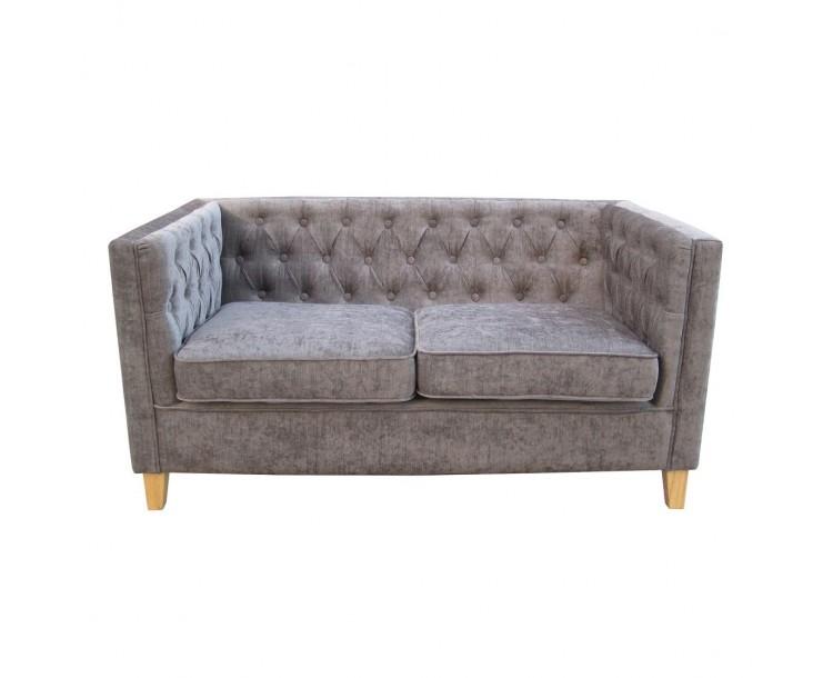 York Grey Compact 2 Seater Sofa