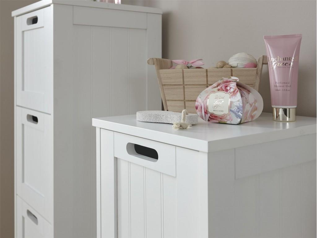 White Modern Colonial 2 Drawer Bathroom Slim Chest Storage