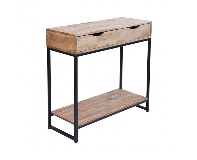 Mirelle Console Table Solid Oak Black Metal Frame