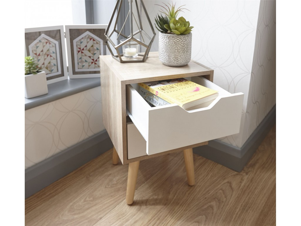 Stockholm Style White Oak 2 Drawer Nightstand Bedroom