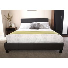 Single Faux Leather 5FT Bed Frame with Headboard Black
