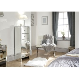 Venetian 5 Drawer Tallboy Clear Mirror Finish Bedroom Furniture