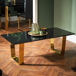 Sleek Black Antibes Coffee Table Polished Gold Legs