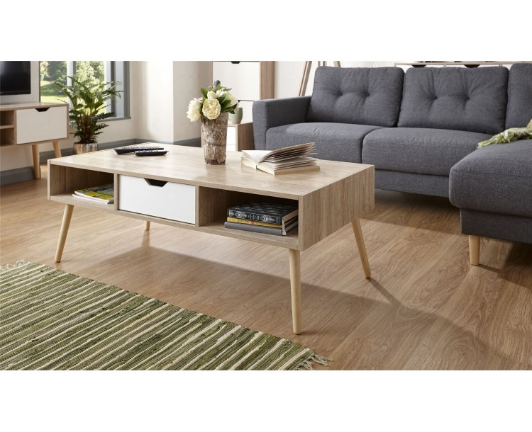 White Oak Stockholm Living Room Drawer Storage Coffee Table
