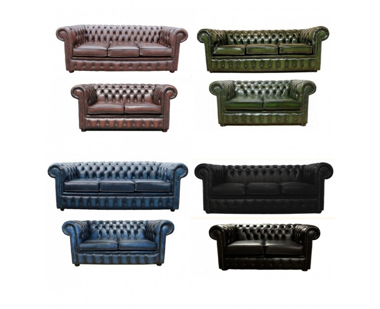 Chesterfield Genuine Leather Three & Two Seater Sofa Suite