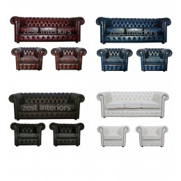 Chesterfield Genuine Leather Three Seater & Two Club Chair Suite