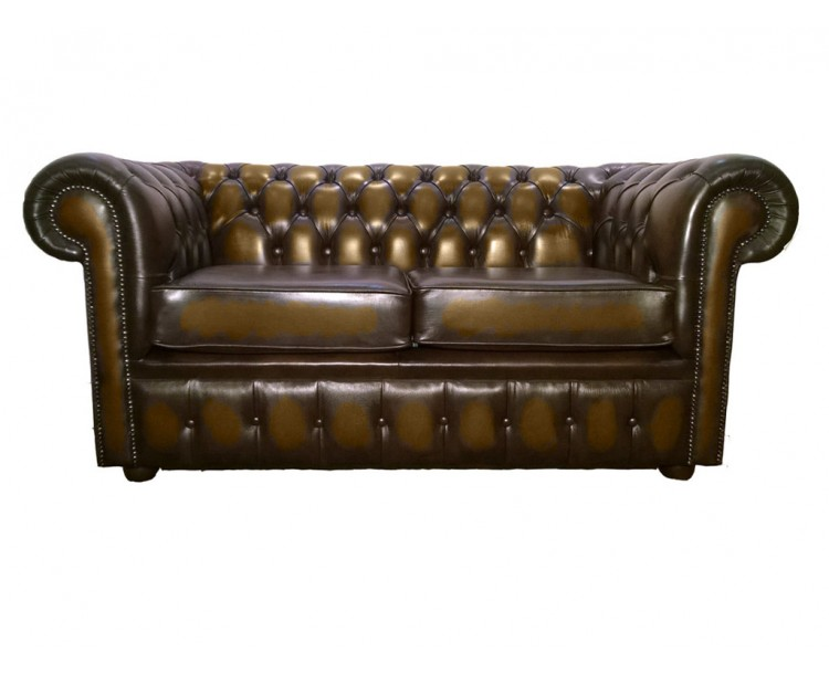 Chesterfield Genuine Leather Antique Brown Two Seater Sofa