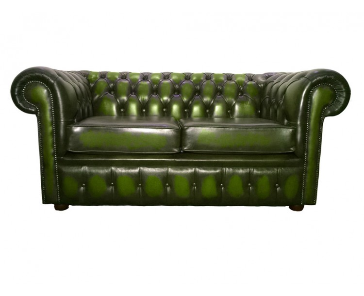 Chesterfield Genuine Leather Antique Green Two Seater Sofa