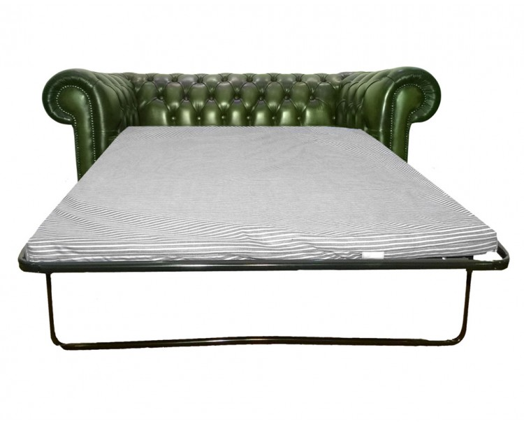 Chesterfield Genuine Leather Antique Green Two Seater Sofa Bed